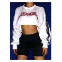 Girls Popular Letter ROCK MORE Letter Tape Long Sleeve White Hip Hop Crop Sweatshirt