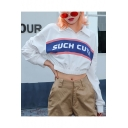 Street Cool Letter SUCH CUTE Printed Lapel Collar Long Sleeve Crop White Sweatshirt