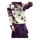 Popular Allover Swallow Pattern Round Neck Long Sleeve Grey Pullover Sweatshirt