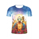 Funny Cool 3D Game Figure Statue of Buddha Pattern Short Sleeve Round Neck T-Shirt