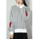 Letter LITTLE BITCH Heart Patched Long Sleeve Striped Printed High Neck Loose Fit Pullover Sweatshirt