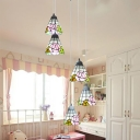Pink Rose Ceiling Light with Grid Bell 5 Lights Creative Stained Glass Pendant Light for Girl Bedroom