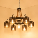 Black Ring Ceiling Pendant with Cylinder Shade 7 Lights American Rustic Metal Chandelier for Villa