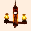 Country Style Kerosene Pendant Light Wood 2 Lights Beige Chandelier for Shop Child Bedroom