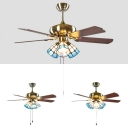 42 Inch Glass Cone LED Ceiling Fan 3/4/5 Lights Vintage Semi Flush Mount Light for Restaurant