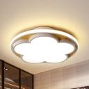 Macaron Loft Black/White Flush Mount Light Flower Wood Ceiling Lamp in Warm/White for Study Room