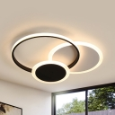 Metal Circle LED Flush Ceiling Light Contemporary Black/White Ceiling Fixture in Warm/White for Hallway