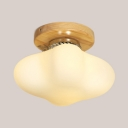 Asian Style Square Ceiling Mount Light One Light Opal Glass Wood Ceiling Fixture for Bathroom