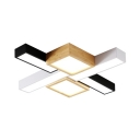 Cross Living Room LED Ceiling Mount Light Wood 6 Heads Contemporary Flush Light with Warm/White Lighting