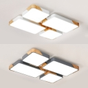 Study Room Gray/White LED Flush Mount Light Acrylic 4 Heads Contemporary Ceiling Light in Warm/White