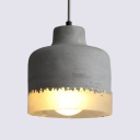 Drum Shape Cafe Pendant Light Cement Single Light Industrial Hanging Light in Gray
