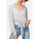Stylish Simple Plain Surplice V-Neck Tied Hem Light Grey Hoodie
