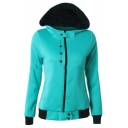 Womens Stylish Button Embellished Long Sleeve Zip Up Slim Fitted Hoodie