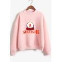 Stranger Things Letter Hat Pattern Mock Neck Long Sleeve Casual Loose Sweatshirt