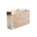 New Stylish Plain Hollowed Metal Edging Glitter Sequined Evening Clutch Bag 18*4.5*11 CM