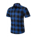 Mens Summer Fashion Check Printed Short Sleeve Slim Fitted Button Shirt