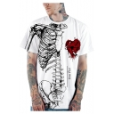 Mens Halloween Cool Heart Skeleton Pattern Round Neck Short Sleeve Casual Loose T-Shirt
