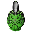 Stylish Green Comic Cosplay Costume Long Sleeve Zip Up Loose Fit Hoodie