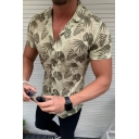 Summer Tropical Coconut Pattern Notched Lapel Collar Short Sleeve Slim Fit Camp Shirt