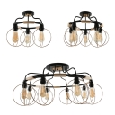 Glass Edison Bulb Semi Flush Light Restaurant 3/5/8 Lights American Rustic Ceiling Lamp in Black