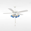 42/52 Inch White Semi Ceiling Mount Light 3/5 Lights Remote Control Ceiling Fan with Pull Chain for Restaurant