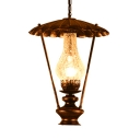Vintage Stylish Bronze Ceiling Pendant Single Light Cracked Glass Hanging Light for Bar