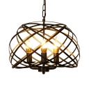 3 Lights Candle Chandelier with Cage Industrial Style Metal Ceiling Pendant in Black for Restaurant
