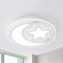 Star Moon Ceiling Mount Light Cartoon Metal Third Gear/Warm/White LED Ceiling Fixture for Kindergarten
