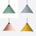 Cone Shade Corridor Pendant Light Aluminum 1 Head Macaron Loft Candy Colored Hanging Lamp
