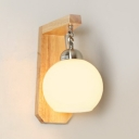 Modern Style Bedroom Lighting White Glass Shade with Nature Rubber Wood Base