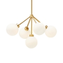 5 Light Globe Chandelier, White Glass Shade Contemporary Gold Finish Ceiling Light for Bedroom
