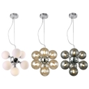 Contemporary Spherical Shade Chandelier 7 Lights Amber/Milk/Smoke Glass Hanging Lamp for Bedroom