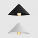 1 Head Conical Shade Hanging Light Industrial Iron Pendant Light in Black/White for Dining Table