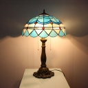 Mediterranean Style Bowl Table Light Stained Glass Two Lights Blue Table Lamp for Living Room
