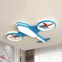 Modern Propeller Airplane Ceiling Lamp Metal Blue/Green Flush Mount Light in Warm/White/Stepless Dimming for Kid Bedroom