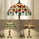 Antique Tiffany Dragonfly/Peacock Desk Light Stained Glass One Light Table Light for Restaurant