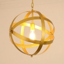 Antique Stylish Gold/White Hanging Light Globe Cage 1 Light Metal Pendant Light for Cloth Shop