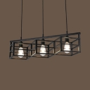 Industrial Rectangle Cage Pendant Light 3 Lights Metal Hanging Light in Black for Restaurant