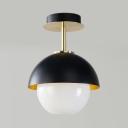 Globe Shade Dining Room Ceiling Light Glass 1 Bulb Modern Stylish Semi Flush Mount Light in Black