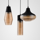 Black Finish Ceiling Pendant 1 Light Modern Ridged Glass Suspension Light for Shop Bar Cafe