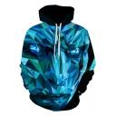 Cool Blue White Walker 3D Printed Long Sleeve Sport Loose Drawstring Hoodie