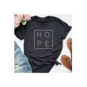 Simple Square Letter HOPE Printed Round Neck Short Sleeve Black Tee