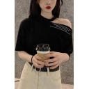 Summer Girls Simple Letter Printed Cold Shoulder Short Sleeve Casual Loose T-Shirt