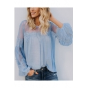 Summer New Trendy Simple Plain Sheer Mesh Panel Lantern Long Sleeve Casual Blouse Top