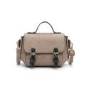 British Style Vintage Plain Belt Buckle School Satchel Messenger Bag 20*14*10 CM