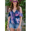 Summer Stylish Tie Dye Pattern V-Neck Cold Shoulder Short Sleeve Cotton T-Shirt