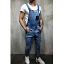 Guys Vintage Washed One Pocket Patched Slim Fitted Denim Bib Overalls