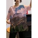 Summer New Stylish Girls Round Neck Loose Oversized Cotton T-Shirt