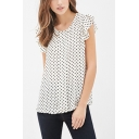 Summer Womens Classic Polka Dot Printed Round Neck Flutter Sleeve Loose Fit Chiffon Blouse Top