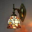 Bell Dining Room Sconce Light Stained Glass 1 Light Tiffany Style Baroque Wall Lighting
